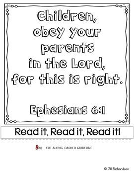 Father's Day Freebie : Bible Verse Memory Flipbook - Ephesians 6:1