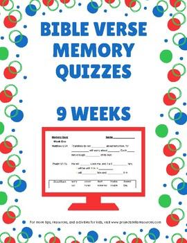 Bible Verse Memory Quizzes - nine weeks