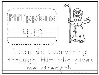 Bible Verse Philippians 4:13 Tracing Worksheet. Preschool-