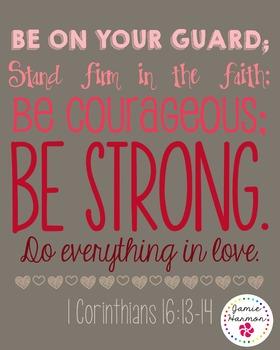 Bible Verse Poster: 1 Corinthians 16:13-14