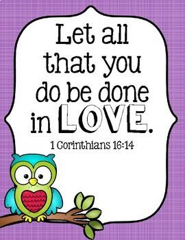 Bible Verse Posters - Owl Theme