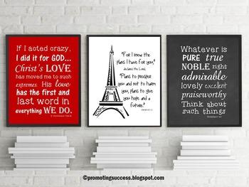 Paris Decor Motivational Quote Posters Inspirational Bible Verse Classroom Decor