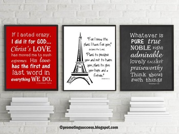 Paris Decor Motivational Quote Posters Inspirational Bible