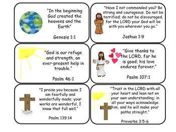 Bible Verse Printable Flashcards. Preschool-Kindergarten Bible.