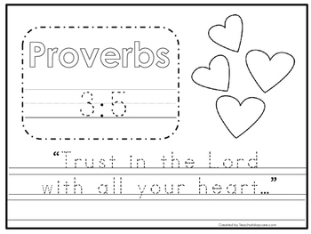 Bible Verse Proverbs 3:5 Tracing Worksheet. Preschool-KDG. Bible Stories