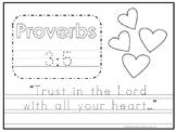 Bible Verse Proverbs 3:5 Tracing Worksheet. Preschool-KDG. Bible Stories