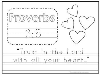 Bible Verse Proverbs 3:5 Tracing Worksheet. Preschool-KDG. Bible ...