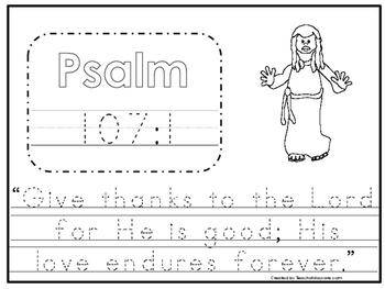 Bible Verse Psalm 107:1 Tracing Worksheet. Preschool-KDG. Bible Stories