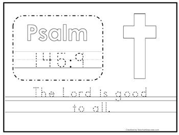 Bible Verse Psalm 145:9 Tracing Worksheet. Preschool-KDG. Bible Stories
