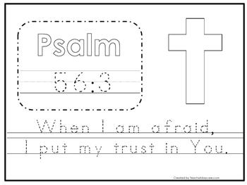 bible stories bible verse psalm 563 tracing worksheet preschool kdg bible stories - Psalm 56 3 Coloring Page