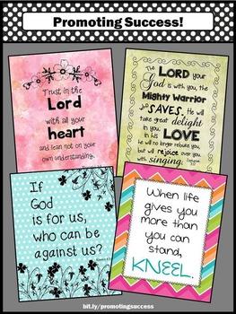 Bible Verse Posters, Christian Classroom Decor 8x10 16x20