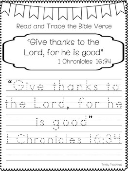 Bible Verse of the Week-1 Chronicles 16:34 Printable Bible Study Curriculum.