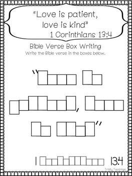 Bible Verse of the Week-1 Corinthians 13:4. Printable Bible Study Curriculum.