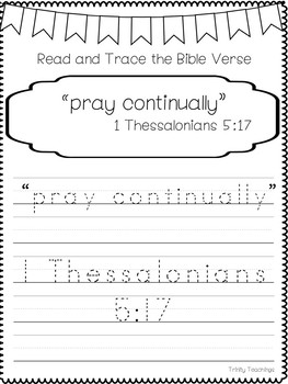Bible Verse of the Week-1 Thessalonians 5:17 Printable Bible Study Curriculum.
