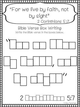 Bible Verse of the Week-2 Corinthians 5:7. Printable Bible Study Curriculum.