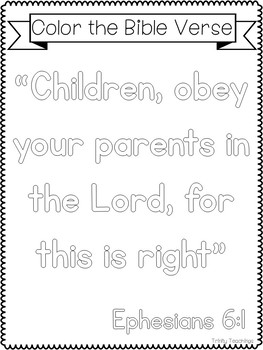Bible Verse of the Week-Ephesians 6:1. Printable Bible Study Curriculum.