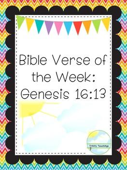 Bible Verse of the Week-Genesis 16:13  Printable Bible Study Curriculum