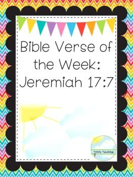 Bible Verse of the Week-Jeremiah 17:7. Printable Bible Study Curriculum.