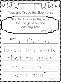 Bible Verse of the Week-John 3:16. Printable Bible Study Curriculum.