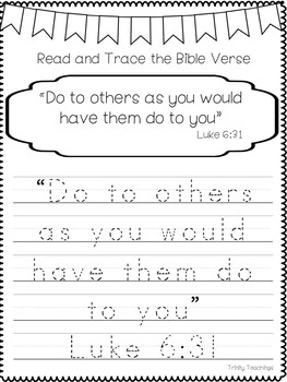 Bible Verse of the Week-Luke 6:31. Printable Bible Study Curriculum.