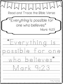 Bible Verse of the Week-Mark 9:23 Printable Bible Study Curriculum.