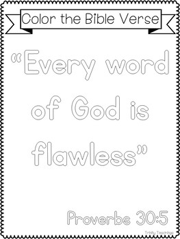 Bible Verse of the Week-Proverbs 30:5. Printable Bible Study Curriculum.