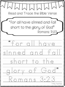 Bible Verse of the Week-Romans 3:23 Printable Bible Study Curriculum.