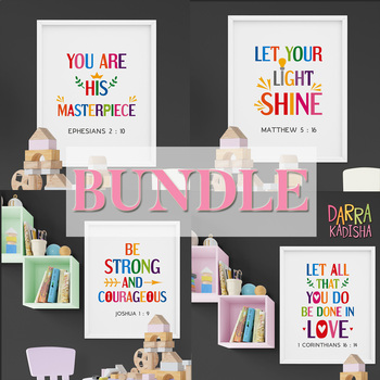 Bible Verses Bundle. Printable Poster for Sunday School Classroom Decor