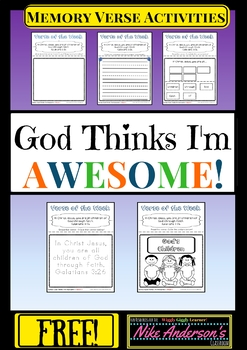 FREE Bible Memory Verses for KIDS-35 Activities