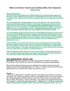 Bible as Literature: Final Exam on New Testament