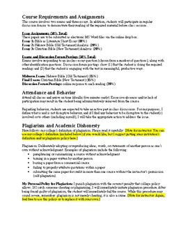 Bible as Literature: Syllabus and Daily Course Schedule