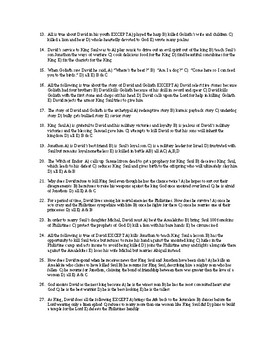 Bible as Literature Test IV (Ruth, 1 & 2 Samuel, 1 & 2 Kings)