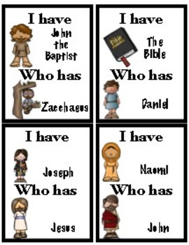 Bible characters Game, I have.. Who has?