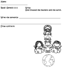 Preschool Bible Activity Genesis 1:1-2 God Created the Heavens and Earth