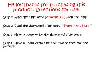 Preschool Bible Activity Proverbs 3:5-6 Trust in the Lord