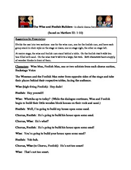 Script, Bible skit:  The Wise and Foolish Builders