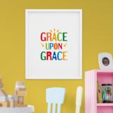 Bible verse poster, printable scripture Grace Upon Grace