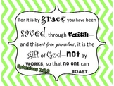 Bible verses posters with blue and green chevron border, sample