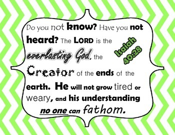 Bible verses posters with blue and green chevron border