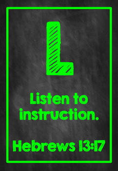 Biblical Classroom Rules- L.E.A.R.N. Chalkboard Neon Design