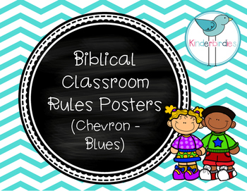 Biblical Classroom Rules Posters (Chevron Blues) - TPT Kin