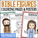 Bible Characters Coloring Pages or Posters with Bible Verses