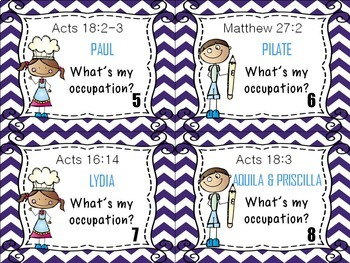 Bible Task Cards: What's My Occupation?