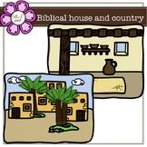 Biblical house and country digital Clipart (color and blac