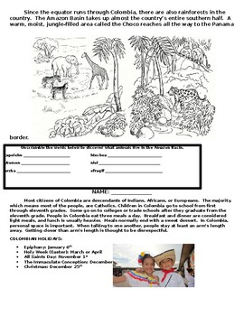 Biblioburro Science and Social Studies' Integration Packet for Second Grade