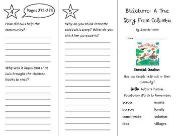 Biblioburro Trifold - Wonders 2nd Grade Unit 3 Week 3