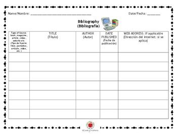 Bibliography Graphic Organizer (BILINGUAL)
