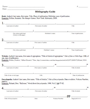Bibliography Guide- Practice Sheet