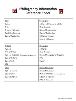 Bibliography Reference Sheet & Information