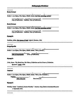 Bibliography Worksheet